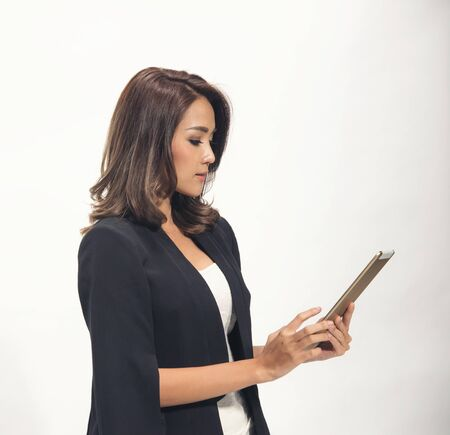 asian business woman use tablet on white