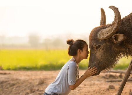 Beautiful Asian woman with long horn buffalo at field farm ayutaya thailand Stock fotó