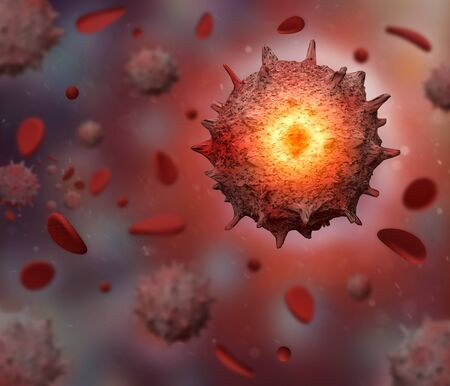 3d rendered Virus in red Blood Stream cell in color background. Coronavirus concept resposible for asian flu outbreak and coronaviruses influenza as dangerous flu strain cases as a pandemic. Stock fotó