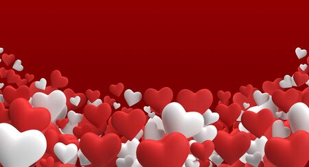 Realistic 3D render Colorful Red and White Romantic Valentine Hearts Background Floating with Happy Valentines day Greetings copy space Illustration