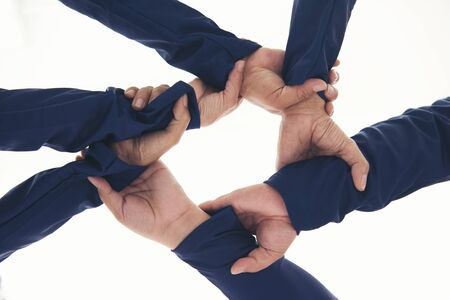 together collaborate ring of hands teamwork isolated on white background.