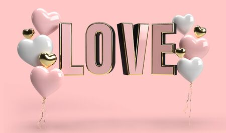 Happy Valentines Day romance greeting card with 3D hearts and LOVE text render. pink gold and white color art object concept. Stock fotó