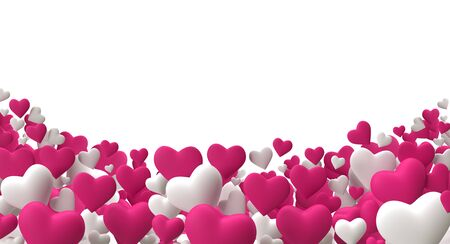 Realistic 3D render Colorful pink and White Romantic Valentine Hearts Background Floating with Happy Valentines day Greetings copy space Illustration