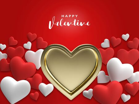 Realistic 3D render Colorful gold Red and White Romantic Valentine Hearts Background Floating with Happy Valentines text Greetings Illustration Stock fotó
