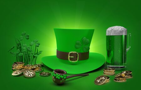 Saint Patricks Day Card with Treasure, Golden Coins,Pipe brown tobacco Green top hat and Shamrock with a full cold frosty glass of beer on Green Background. 3d render Illustration concept. Stock fotó