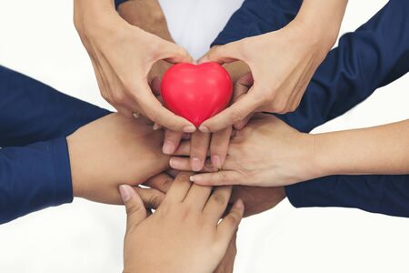 together collaborate of hands teamwork isoleted on white background. show red heart on hands.