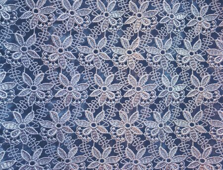Cotton lace tablecloth rustic background, text place, copy space