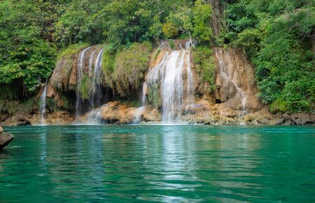 Beautyful waterfall nature season spring in forest thailand