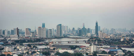 Aerial view Bangkok city downtown skyline building tower of Thailand , Cityscape Thailand Stock fotó