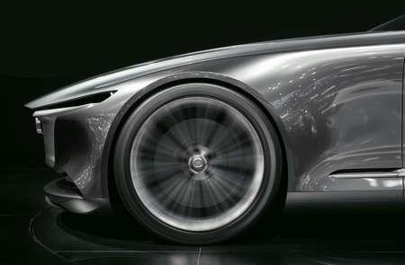 Super car wheel drifting on track on black background Stock fotó
