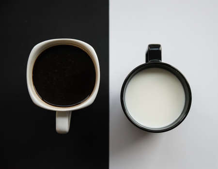 Top view of coffee cup on black and white background. different concept