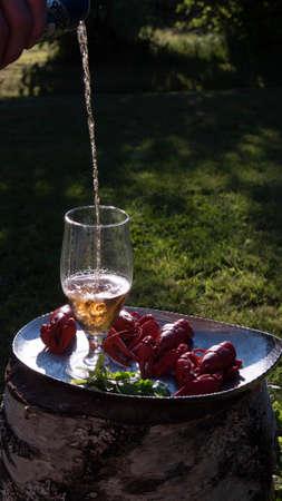 Crayfish with beer, food in the summer garden