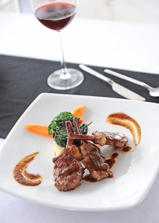 steak and wine photo