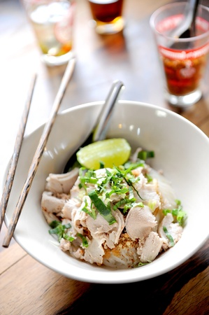 noodle soup: Asian style noodle with pork , spicy and yummy delicious Stock Photo