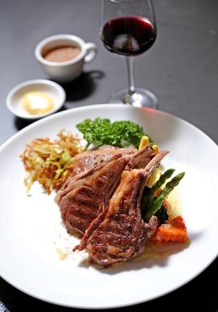 closeup of grilled lamb chops photo