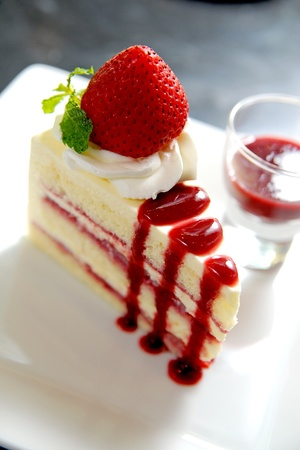 Cheesecake with fresh strawberries photo