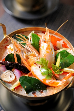 Tom Yum soup, a Thai traditional spicy prawn soup photo