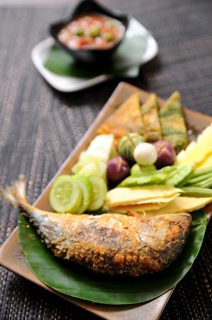 mackerel: Thai food, Chili mackerel, vegetable and sauce Stock Photo