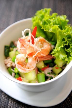 salad greens: Prawn salad
