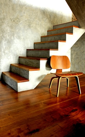 desolation: Old fashioned chair on wooden floor