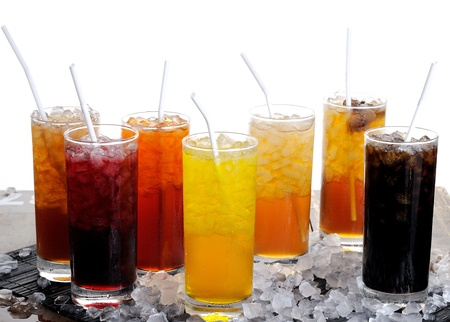 A Row of colorful juices Stock Photo