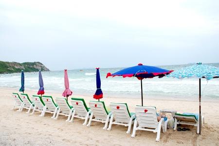 singleness: sun beach chairs  Stock Photo