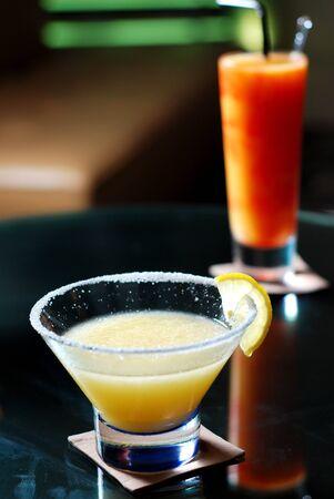 blue margarita cocktail with lemon photo