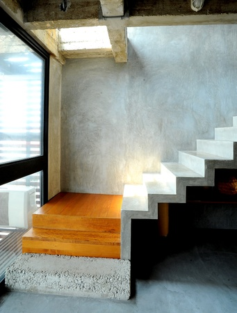 living hall: concrete design in modern style