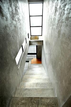 parapet wall: Empty modern building stairway