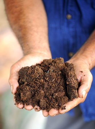 earth handful: hands with soil Stock Photo
