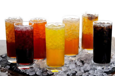 fresh juice on ice Stock Photo