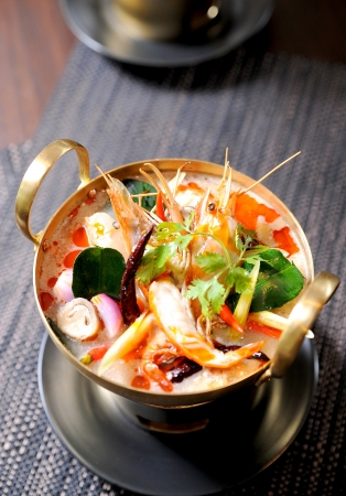thai noodle soup: Thai traditional tom yam kung soup Stock Photo