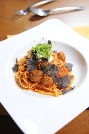 Spaghetti meatball tomato sauce photo