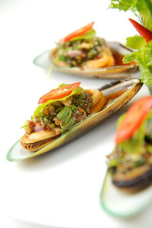 Mussels white plate Stock Photo - 10344900