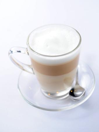 latte macchiato on white background photo