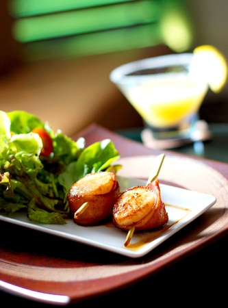 garnish: Grilled scallops in night life