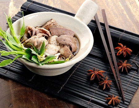 fried noodle: meat with vegetables and noodles