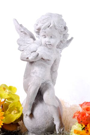 cherub: Baby cupid with angel wings Stock Photo