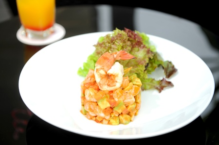 seafood salad: appetizer prawn Stock Photo