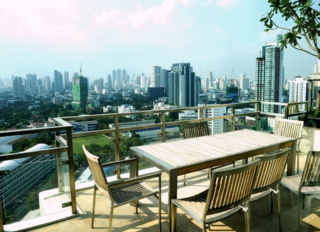 elevated view: Modern penthouse apartment balcony