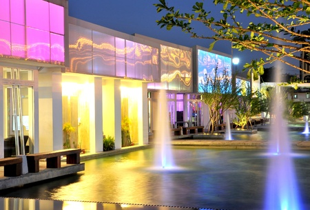 show garden: Bright and colorful fountains at night
