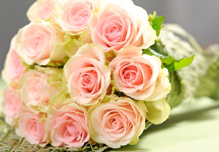 Wedding bouquet with pink roses photo