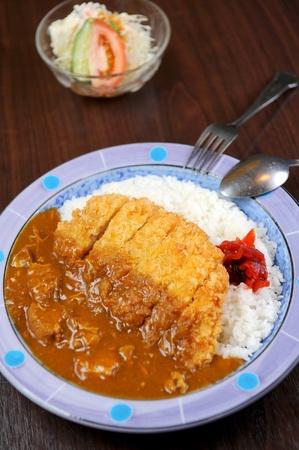 ried meat and curry serve with white rice photo