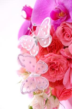 butterflies on bouquet of flowers photo