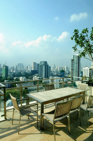 Modern penthouse apartment balcony photo