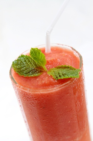 fresh watermelon juice with garnish photo