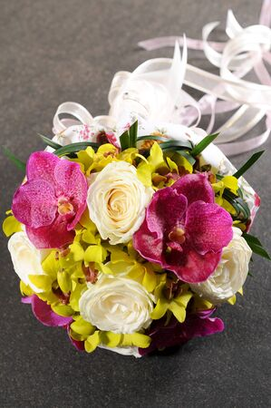 a bouquet of colorful flowers photo