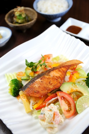 Fish Dishes - Salmon Steak with Vegetable photo