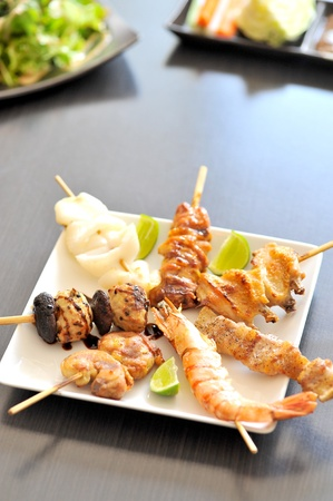 prawn skewers: mix meat grill