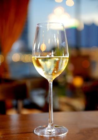 wine and dine: Glasses of white wine